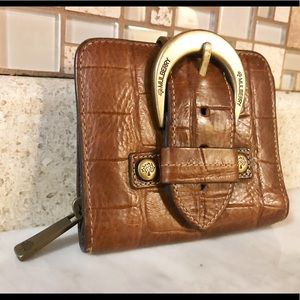 Auth. Mulberry Camel Brown Crocodile Buckle Wallet
